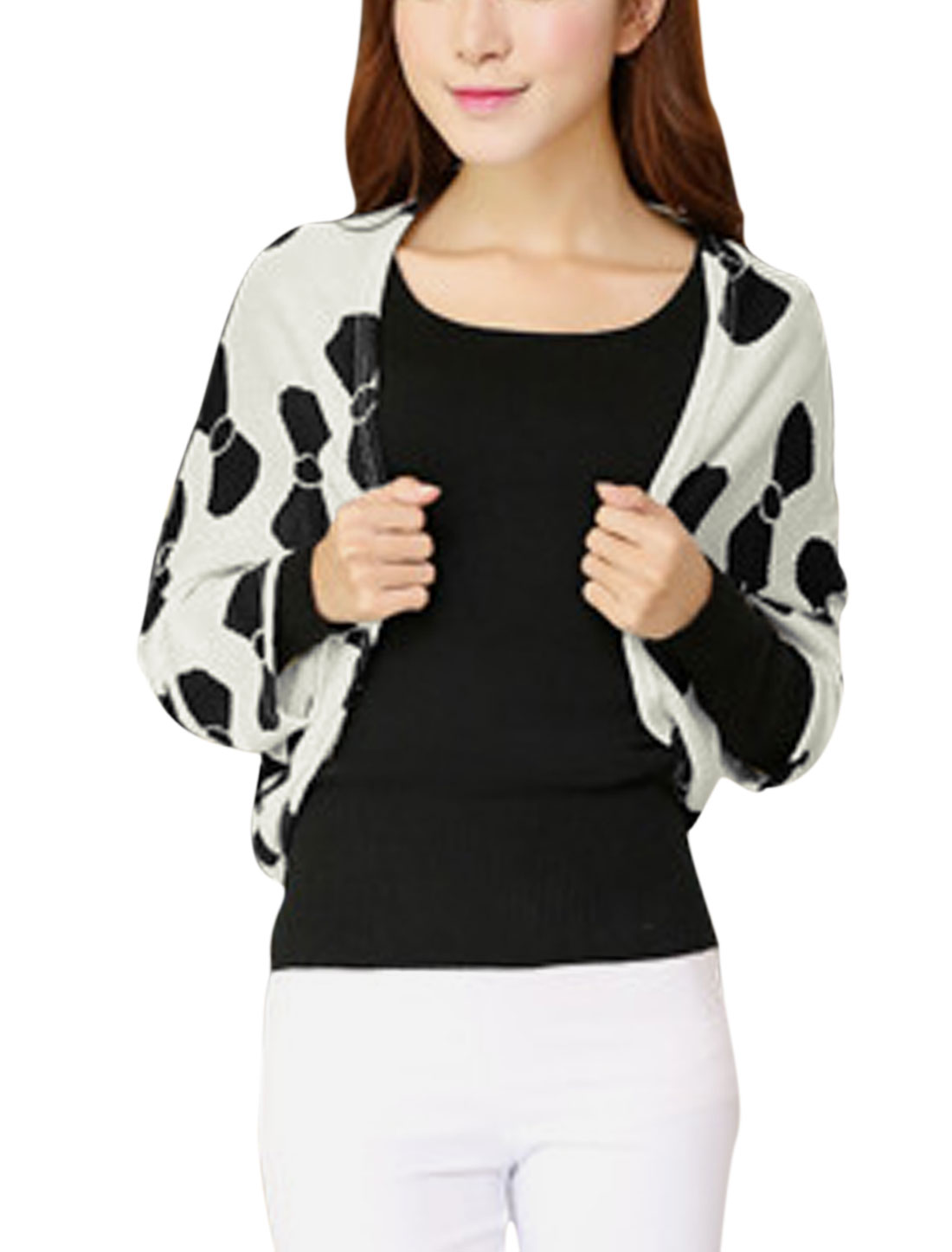 Ladies Bowknot Print Front Opening Leisure Knit Shrug Bolero White XS
