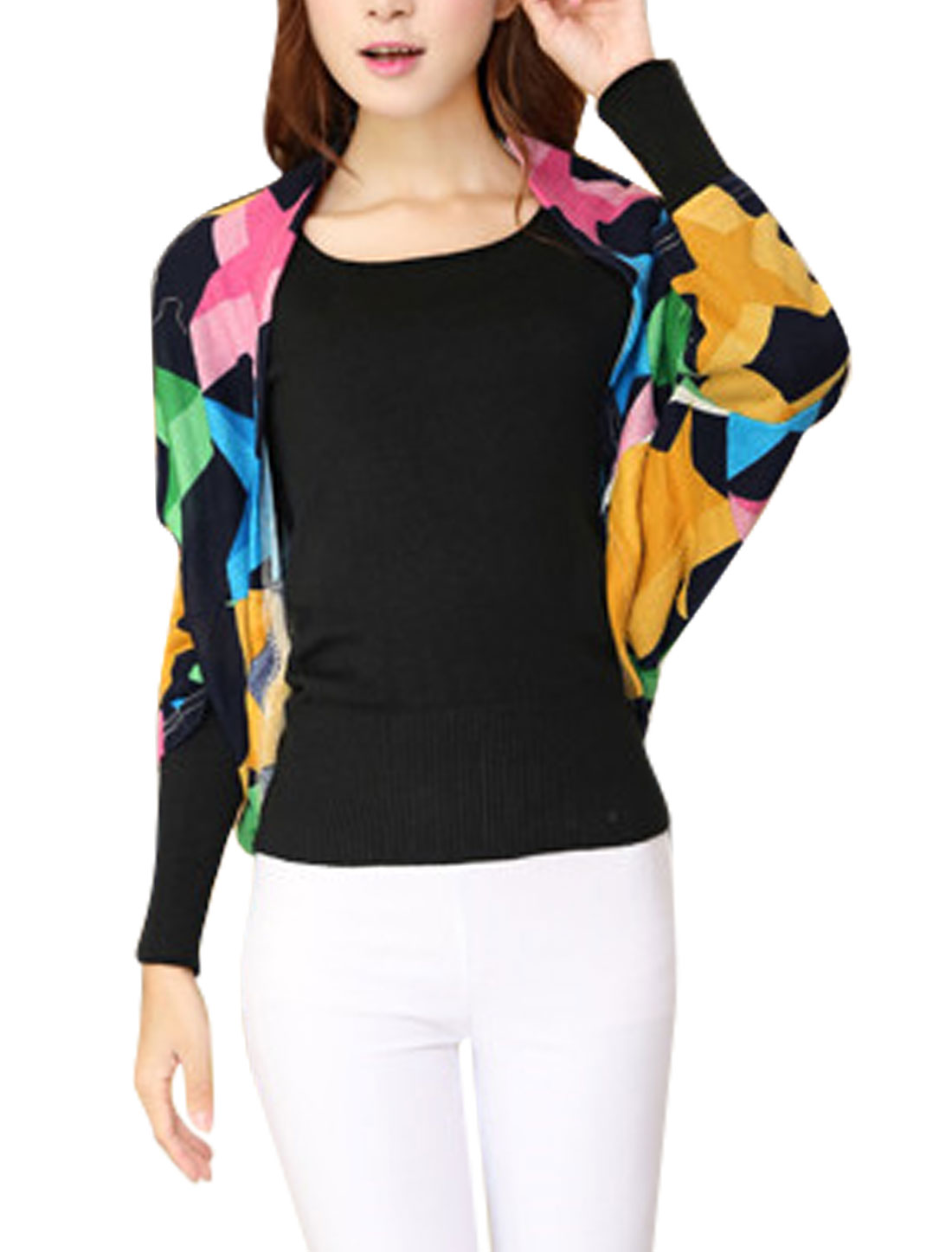 Ladies 3/4 Batwing Sleeve Stars Pattern Casual Knit Shrug Multicolor XS
