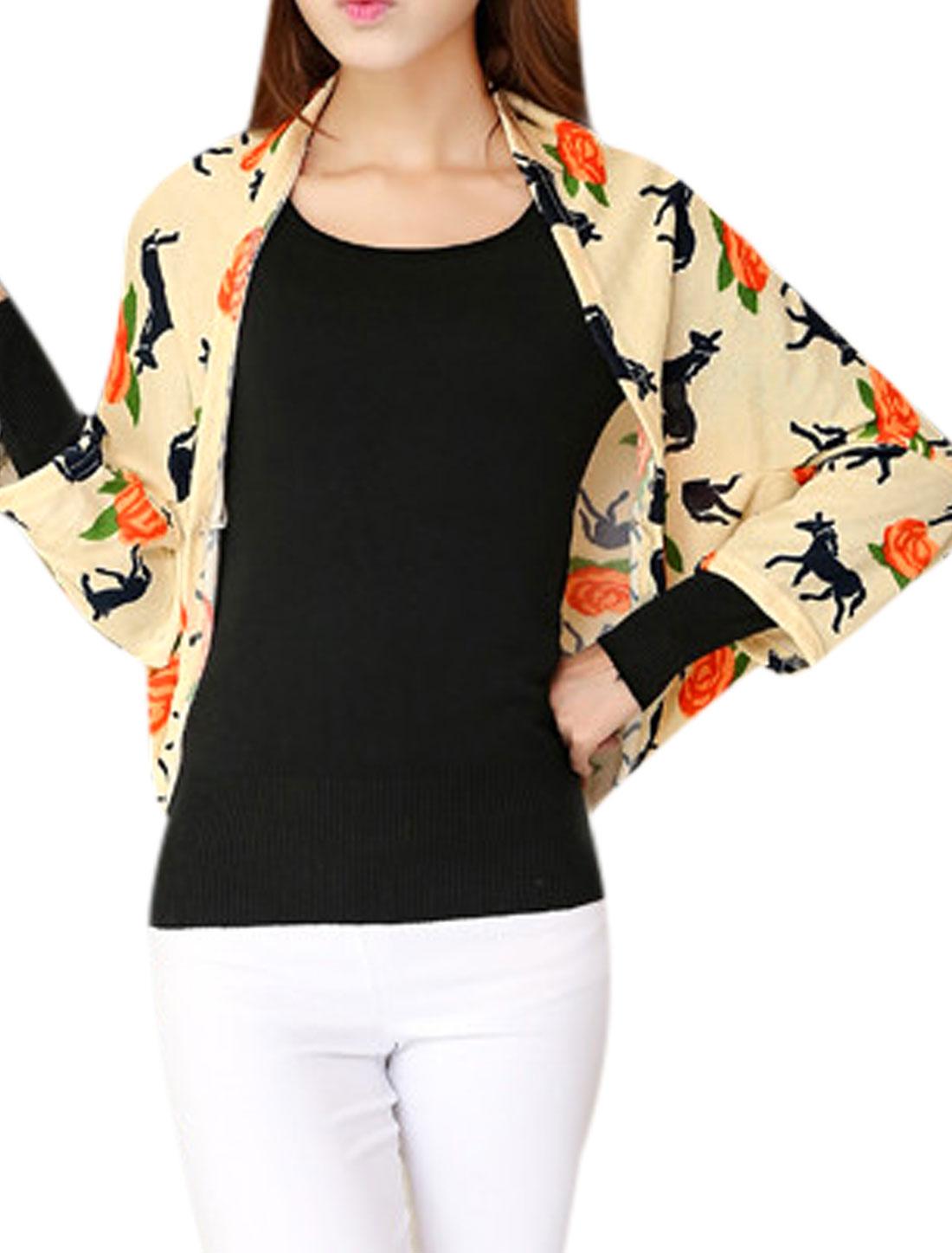 Women Front Opening Horse Pattern Buttonless Casual Shrug Light Yellow XS