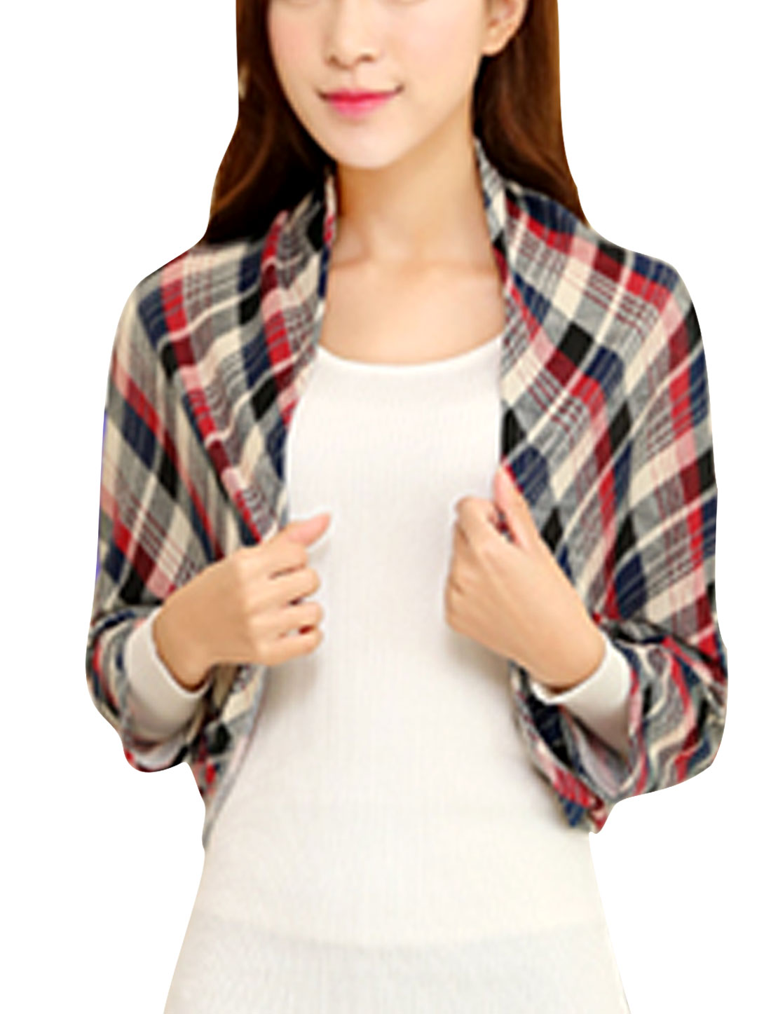 Plaids Print Front Opening Leisure Knit Shrug Bolero for Women Navy Blue Red XS