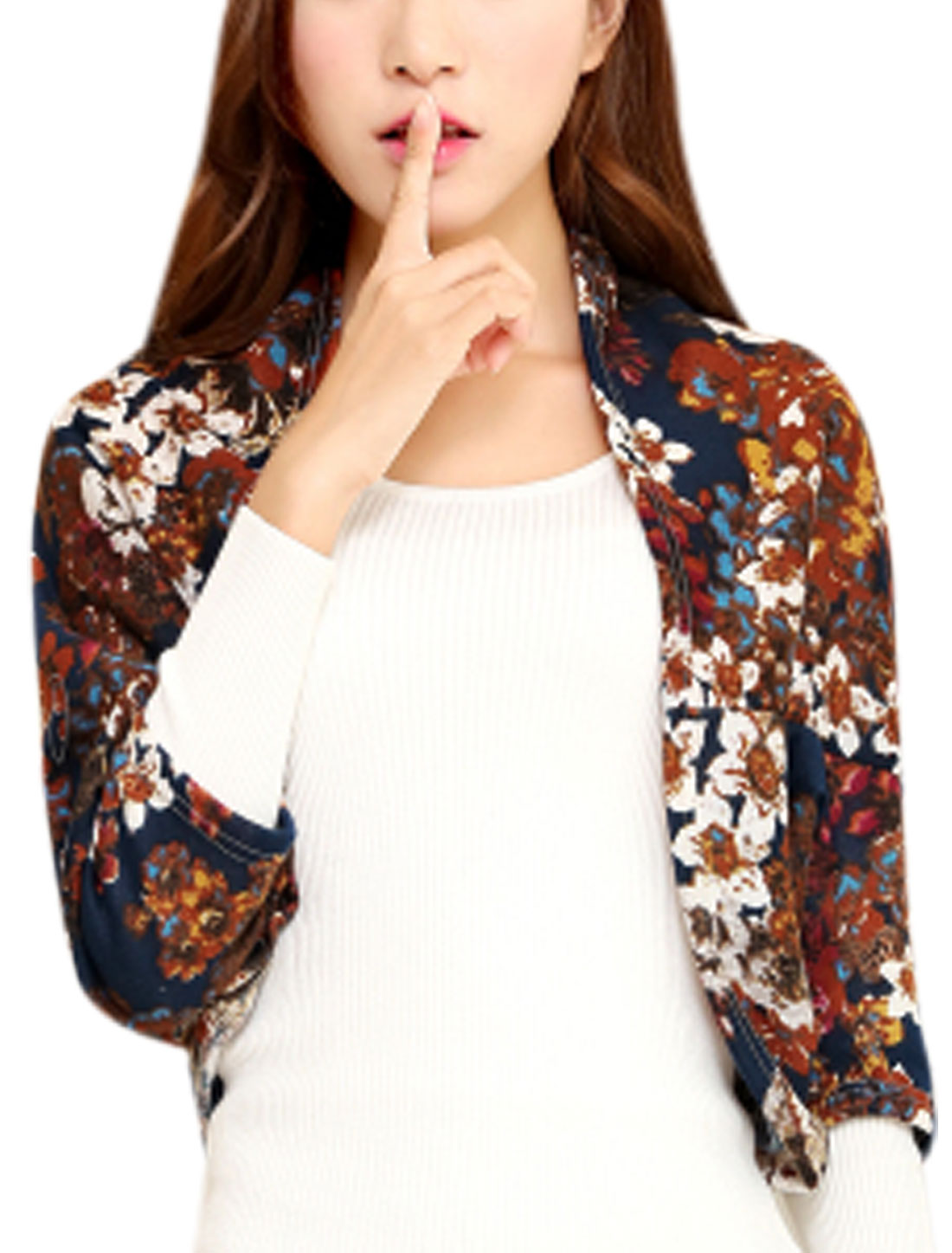 Women Floral Prints Front Opening Fashion Design Shrug Navy Blue XS