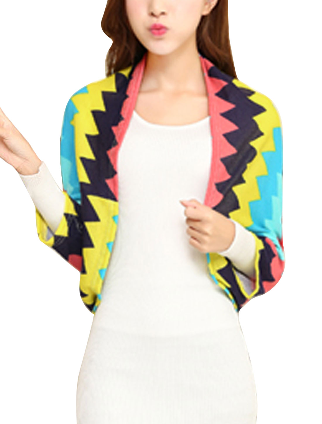 Ladies 3/4 Batwing Sleeve Zig-Zag Pattern Casual Knit Shrug Multicolor XS