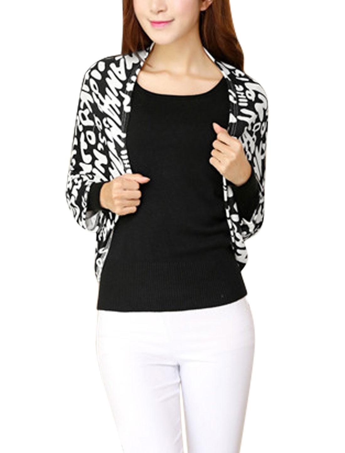 Ladies 3/4 Batwing Sleeve Cozy Fit Letters Prints Knit Shrug Black Beige XS