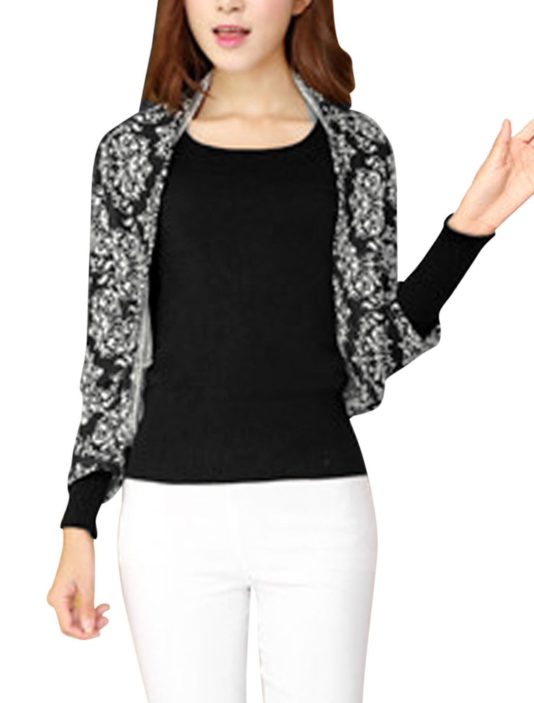 Ladies Black White Jacquard Pattern Batwing Sleeves Knit Shrug Bolero XS