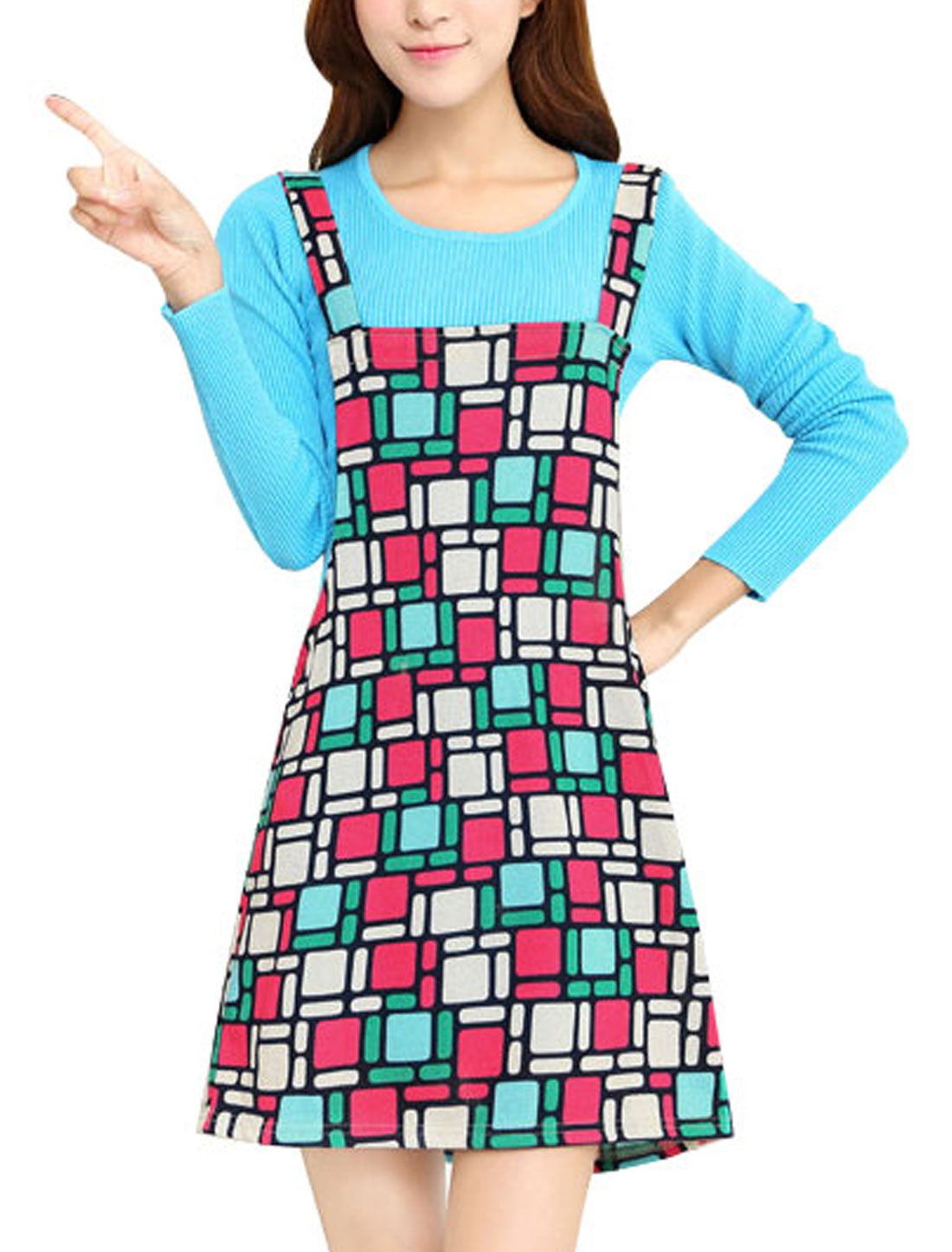 Women Shoulder Straps Geometric Print Straight Knit Suspender Dress Multicolor M