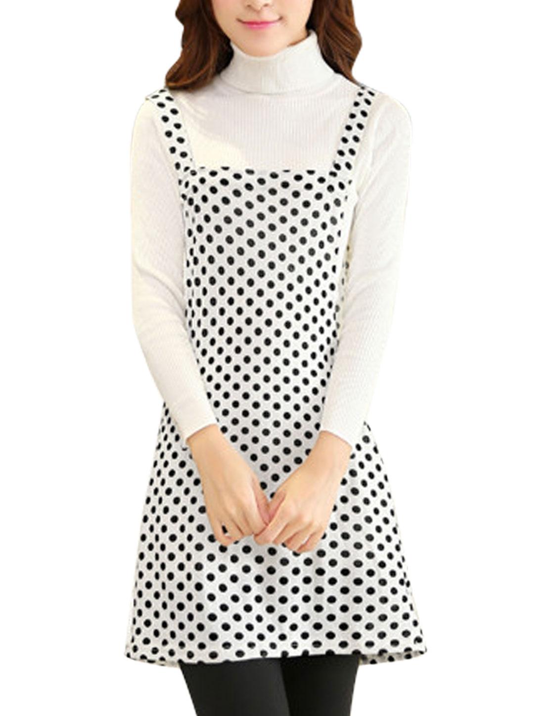 Lady Shoulder Straps Polka Dots Print Straight Knit Suspender Dress White M