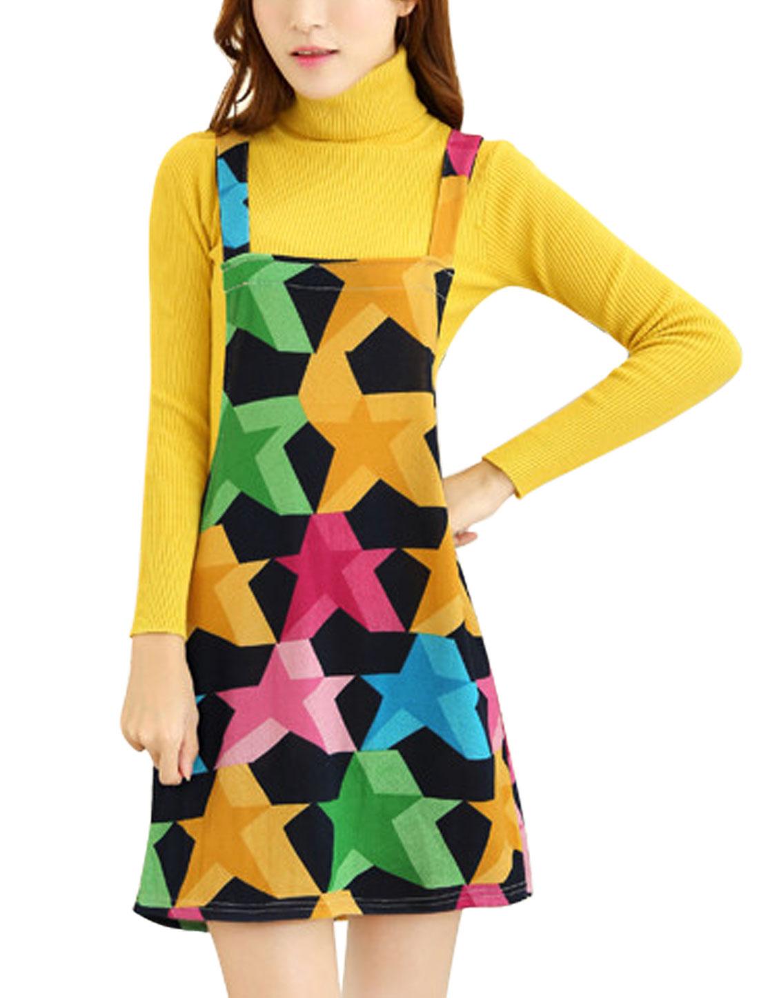 Ladies Shoulder Straps Stars Print Straight Mini Knit Suspender Dress Multicolor M