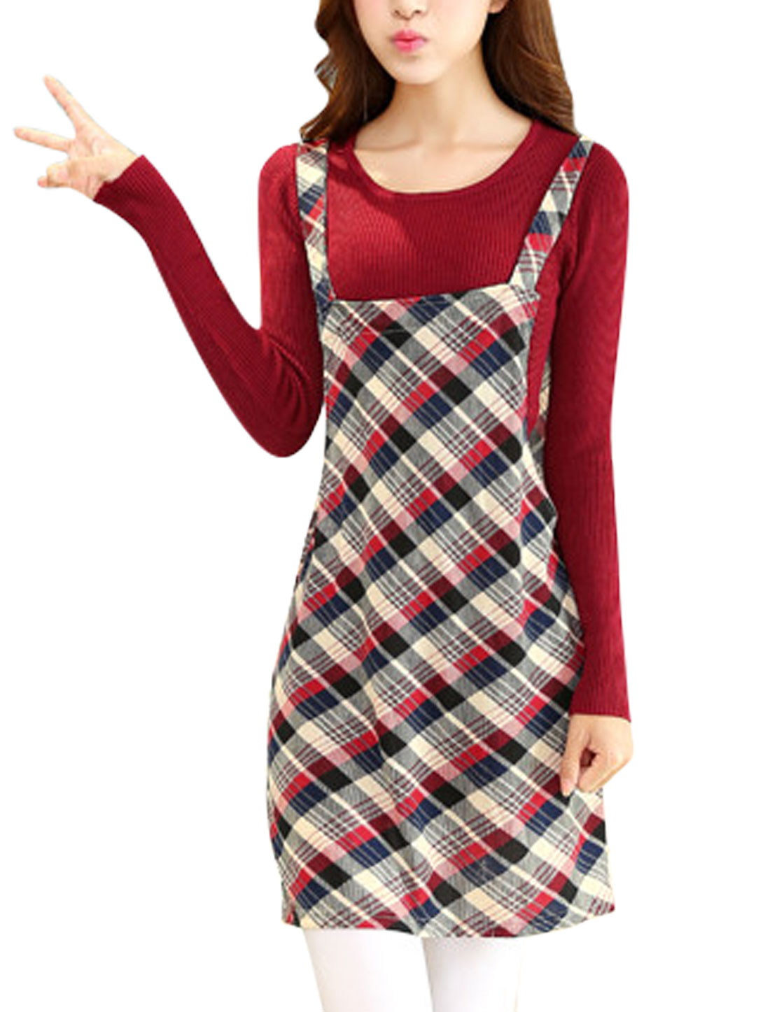 Women Shoulder Straps Plaids Print Straight Knit Suspender Dress Navy Blue Red M