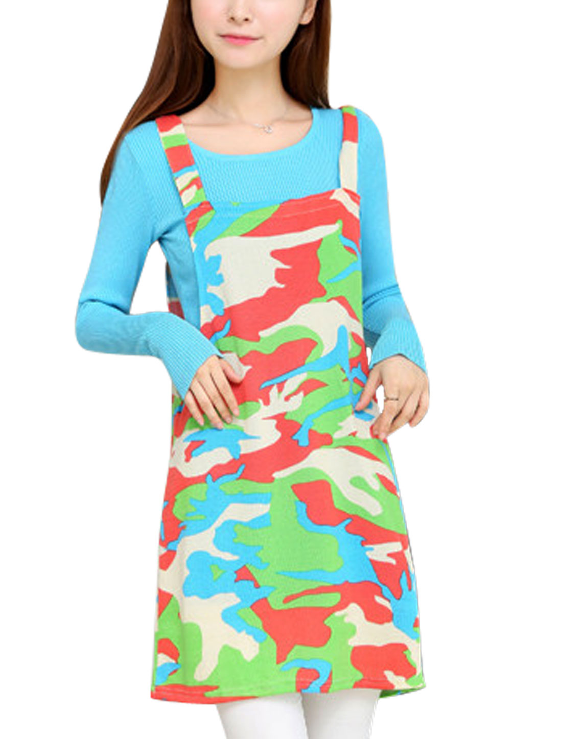 Women Sleeveless Cloud Print Straight Knit Suspender Dress Green Coral M