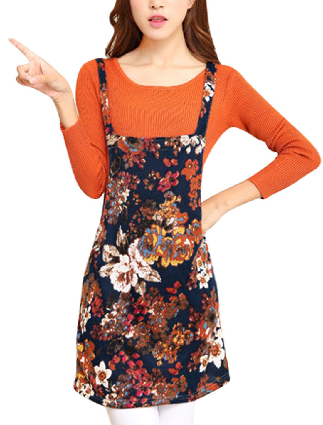 Lady Floral Pattern Square Neck Straight Suspender Dress Navy Blue M