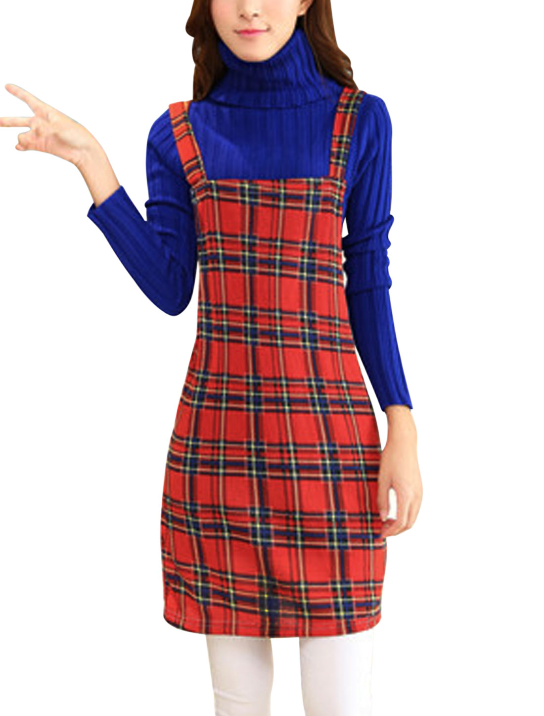 Women Shoulder Straps Check Plaids Print Straight Knit Suspender Dress Red M
