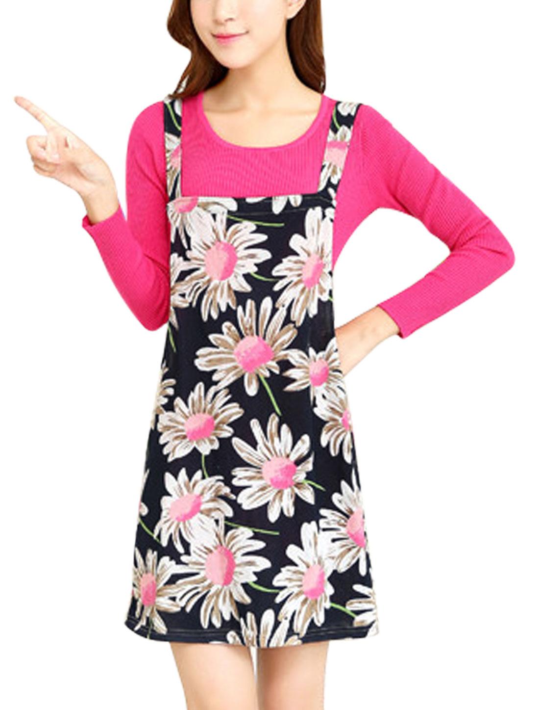 Women Floral Prints Straight Pullover Korean Style Suspender Knit Dress Navy Blue M