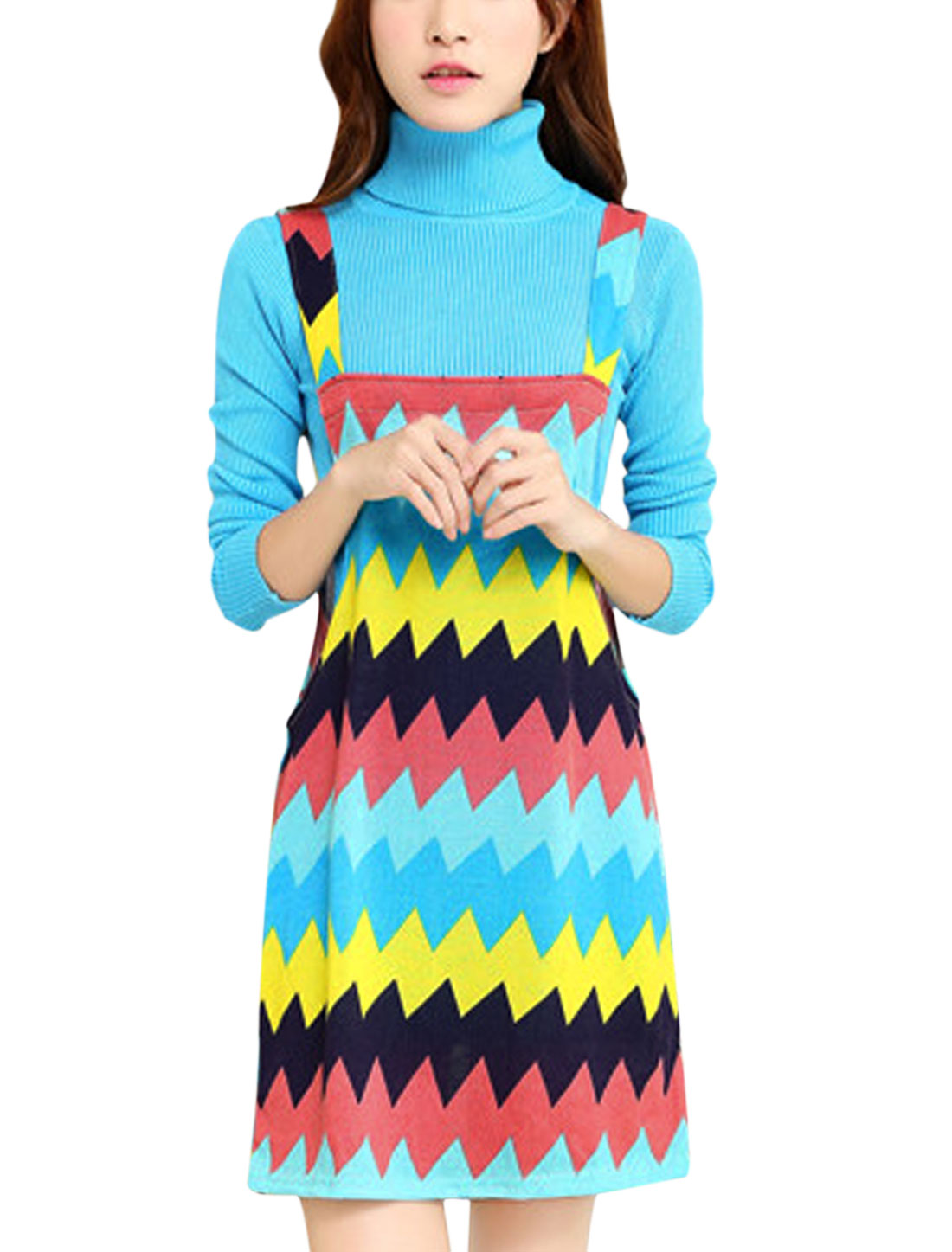 Women Shoulder Straps Zigzag Print Straight Knit Suspender Dress Multicolor M