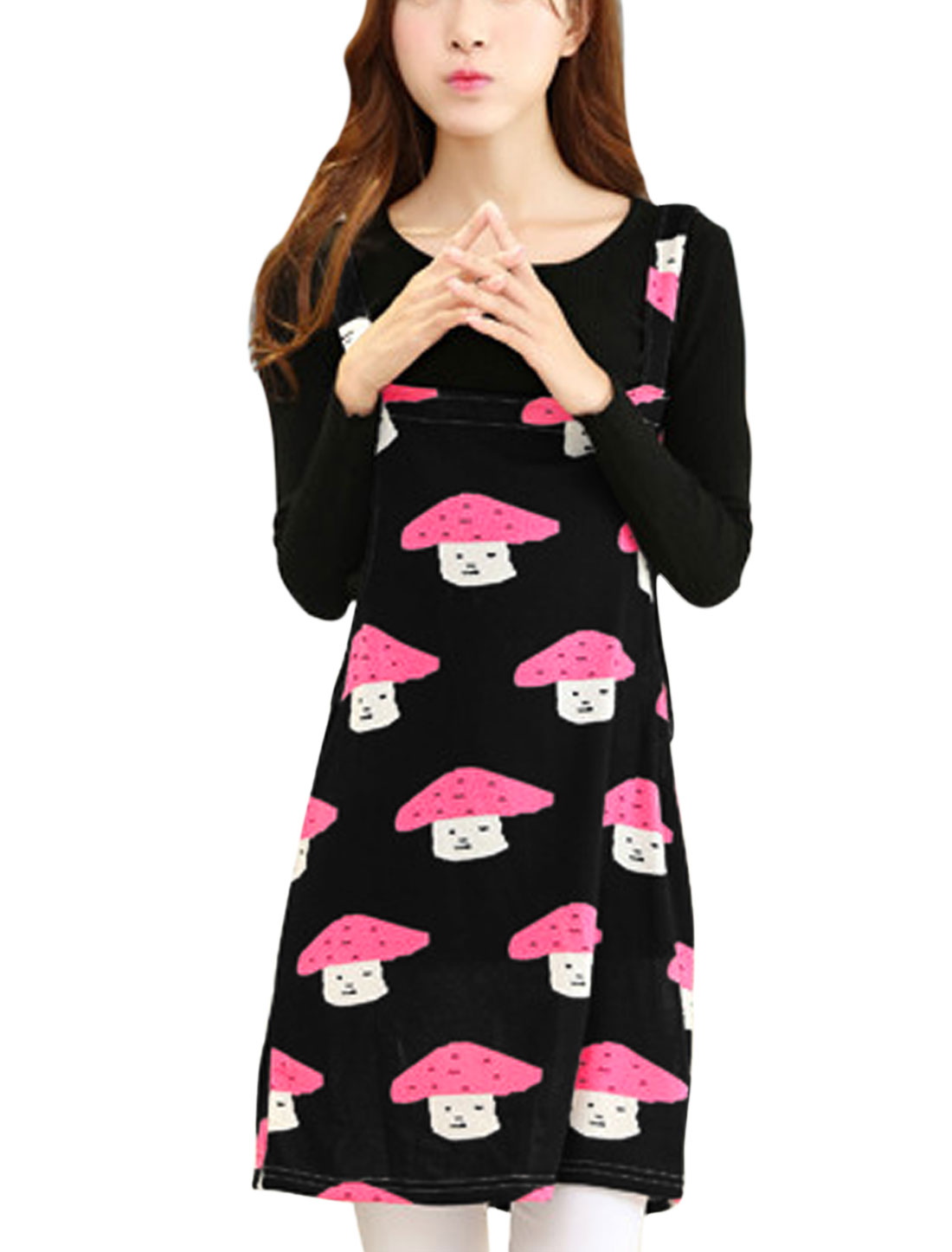 Ladies Shoulder Straps Mushroom Print Straight Knit Suspender Dress Black M