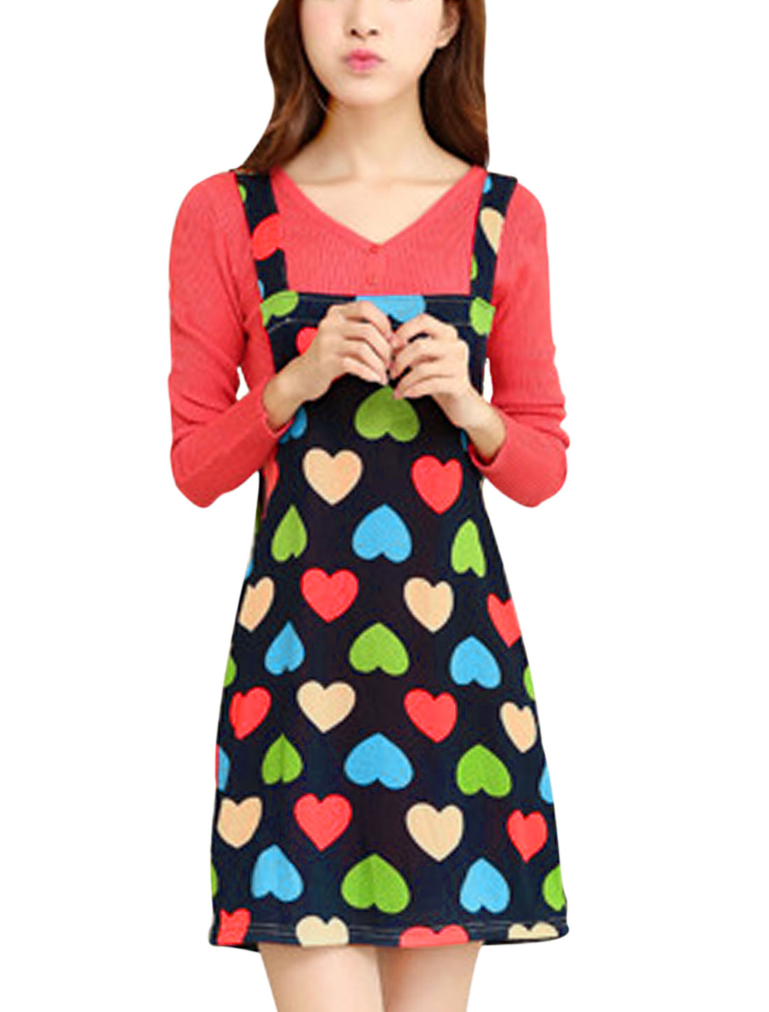 Lady Shoulder Straps Hearts Print Straight Knit Suspender Dress Navy Blue M