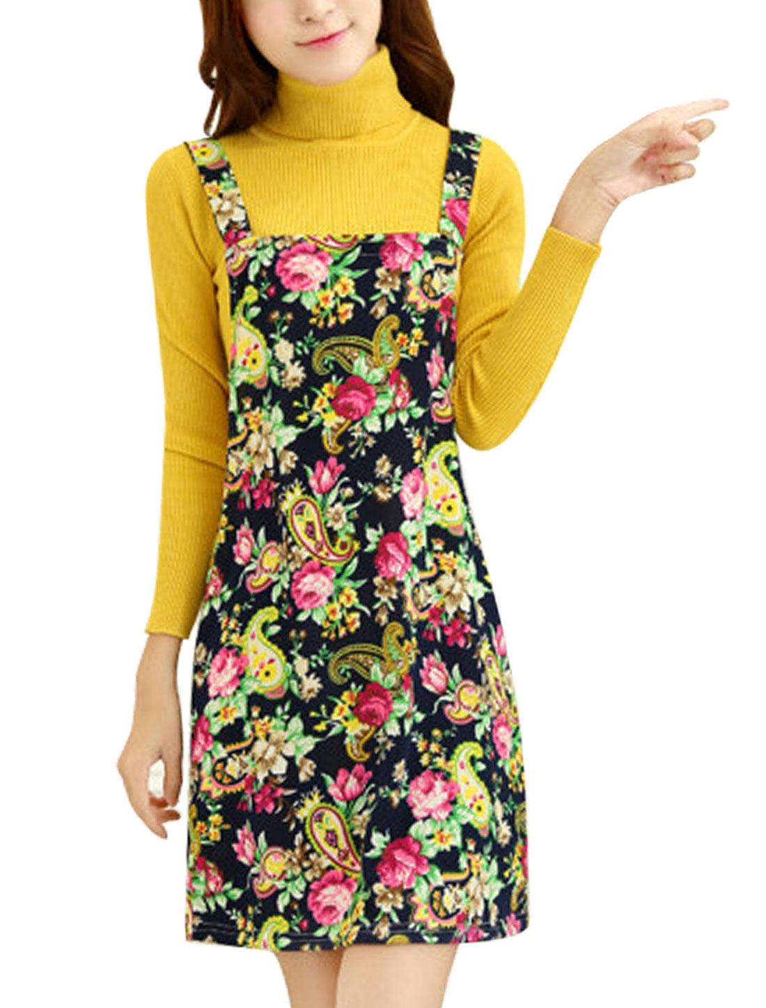 Women Floral Prints Sleeveless Straps Leisure Knit Suspender Dress Navy Blue M