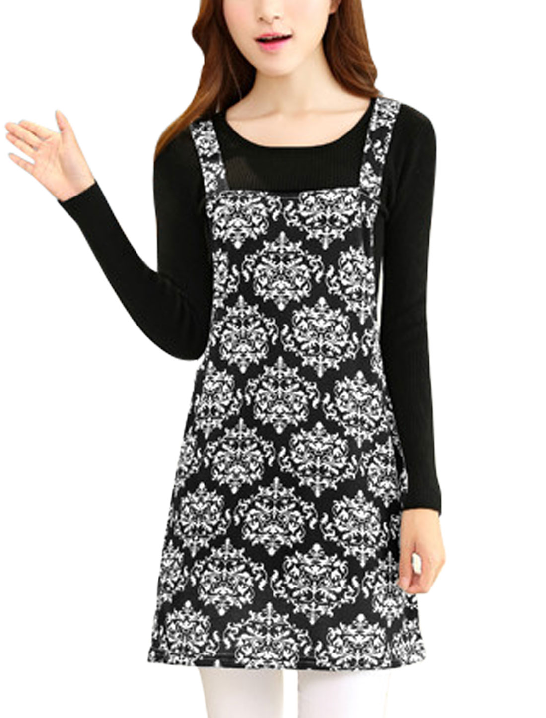 Women Straps Novelty Prints Sleeveless Korean Style Knit Suspender Dress Black M