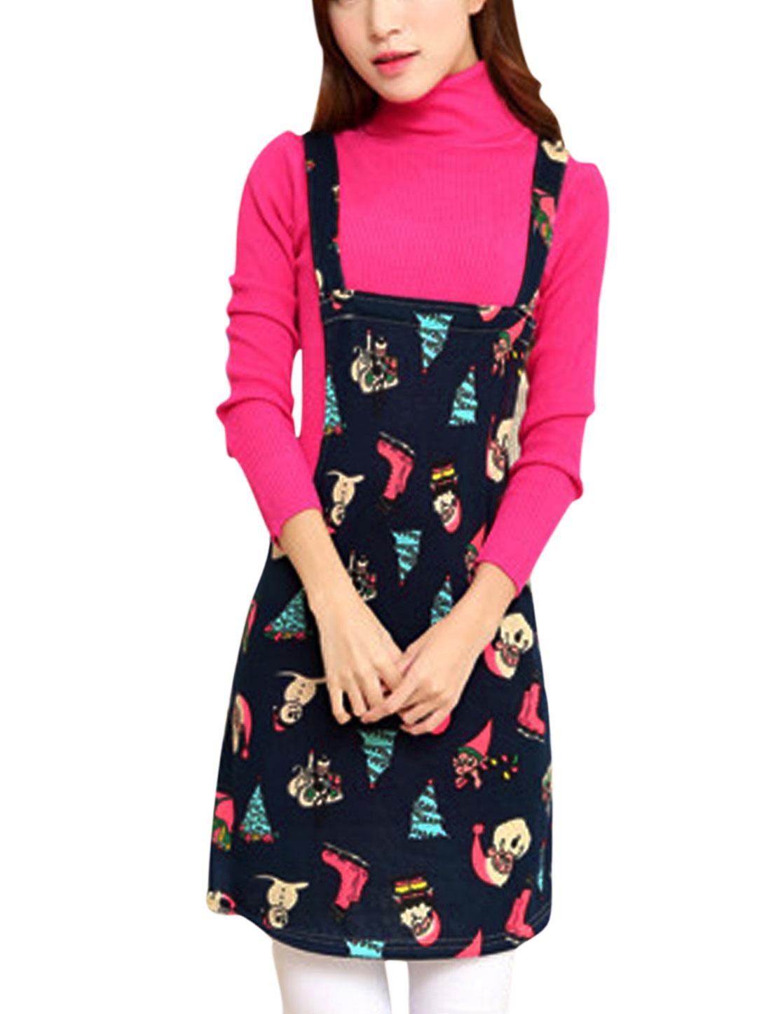 Women Shoulder Straps Santa Trees Shoes Print Knit Suspender Dress Navy Blue M