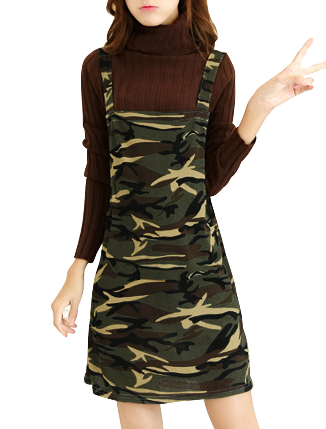 Lady Shoulder Straps Camo Print Chic Straight Knit Suspender Dress Beige Army Green M