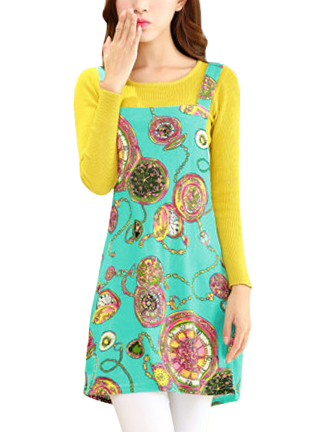 Women Pocket Watch Pattern Sleeveless Pullover Leisure Knit Suspender Dress Sea Green M