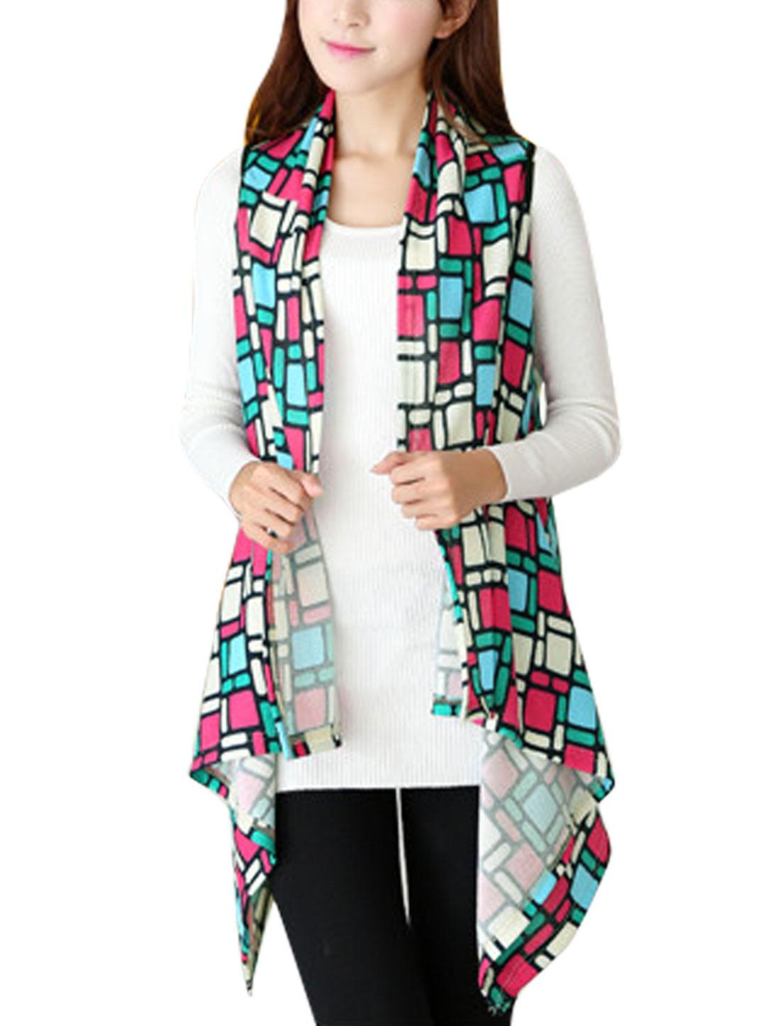 Women Check Pattern Irregular Hem Design Knitted Vest Multicolor XS