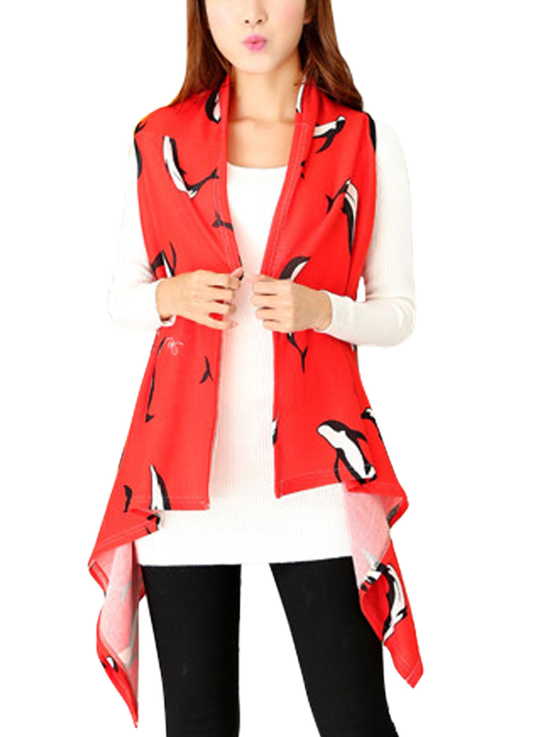 Ladies Red Asymmetric Hem Dolphins Pattern Front Opening Leisure Knit Vest XS