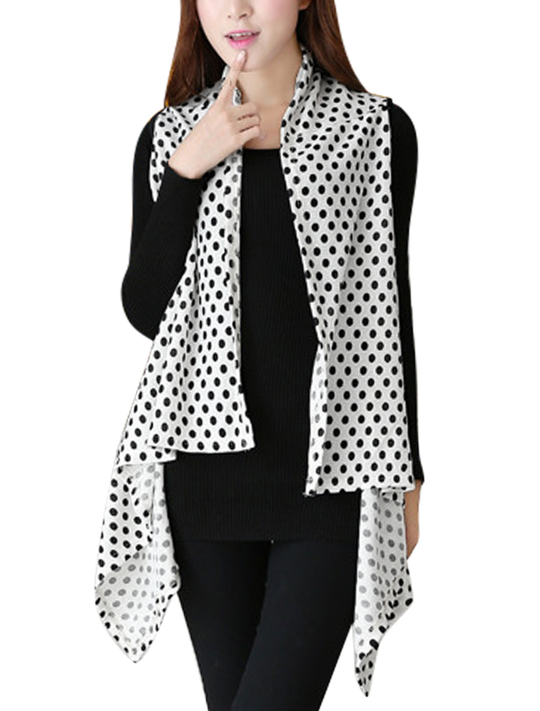 Women Dots Pattern Shawl Collar Irregular Hem Knit Vest White XS