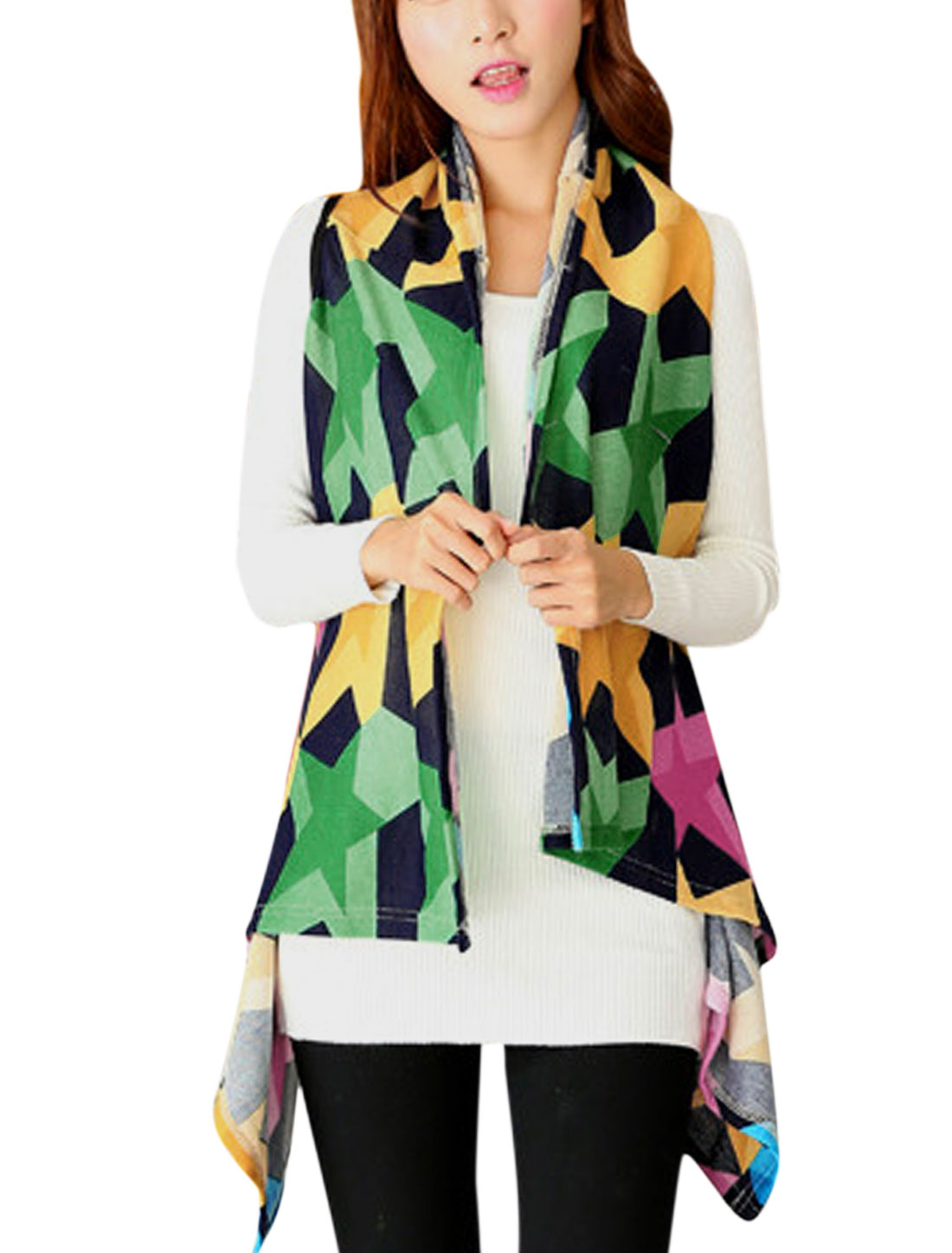 Women Stars Pattern Asymmetric Hem Design Knitted Vest Multicolor XS