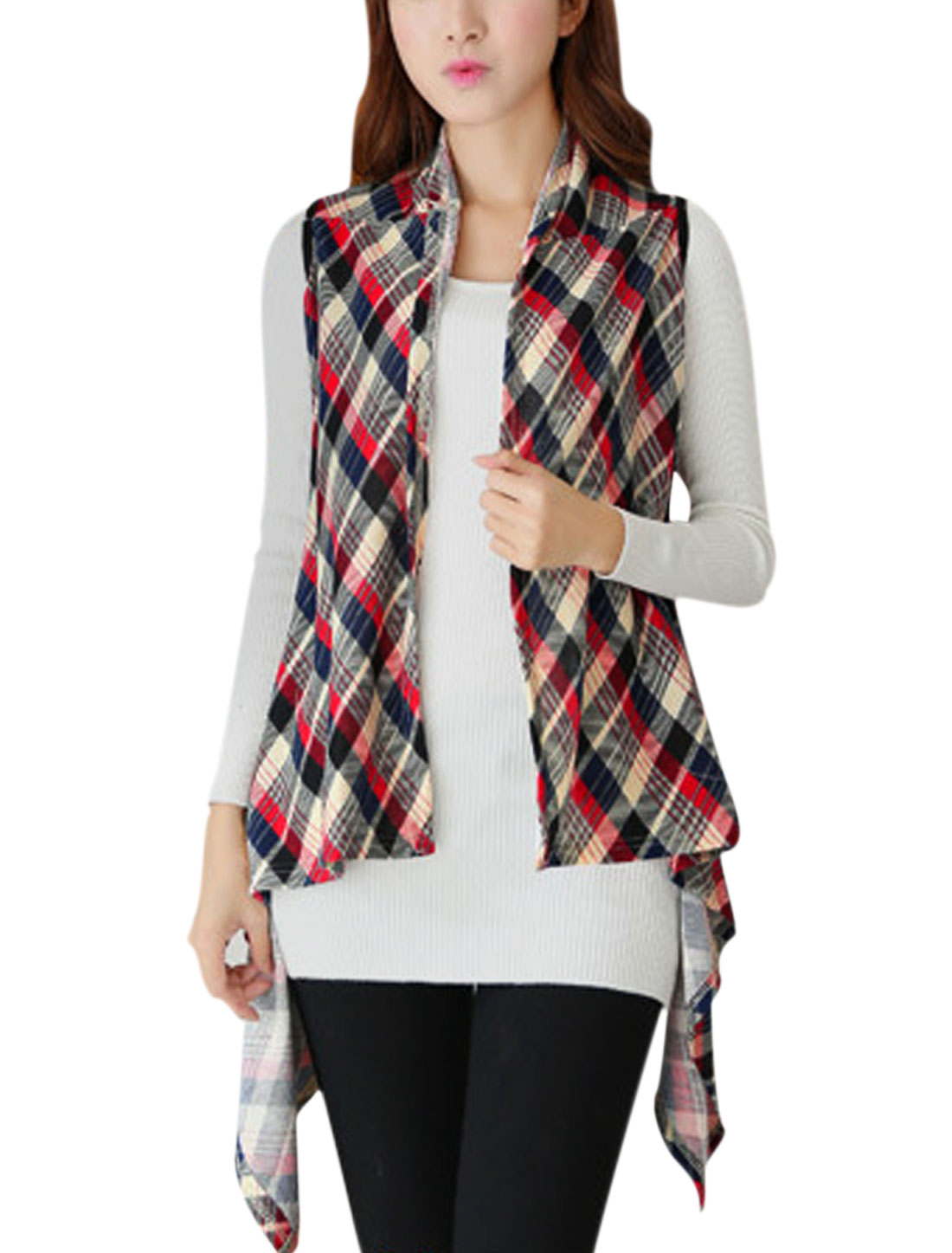 Women Plaids Pattern Irregular Hem Knitting Vest Red Navy Blue XS