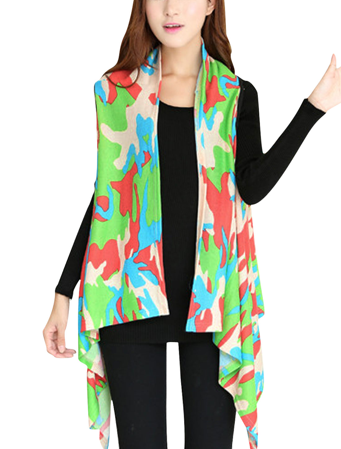 Women Cloud Pattern Irregular Hem Design Knit Vest Multicolor XS