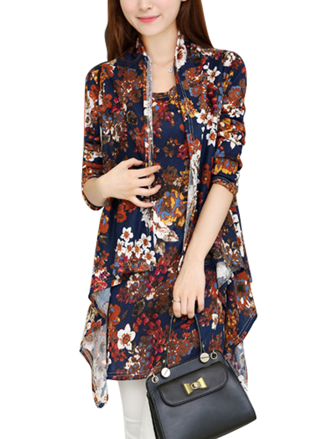Ladies Navy Blue Sleeveless Floral Prints Front Opening Irregular Hem Knit Vest XS