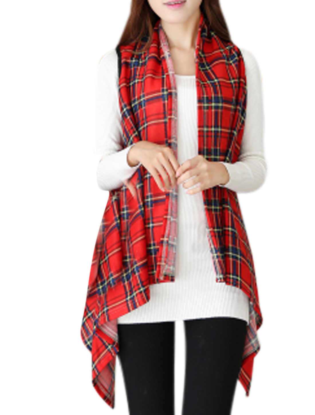 Women Plaids Pattern Asymmetric Hem Sleeveless Knit Vest Red XS