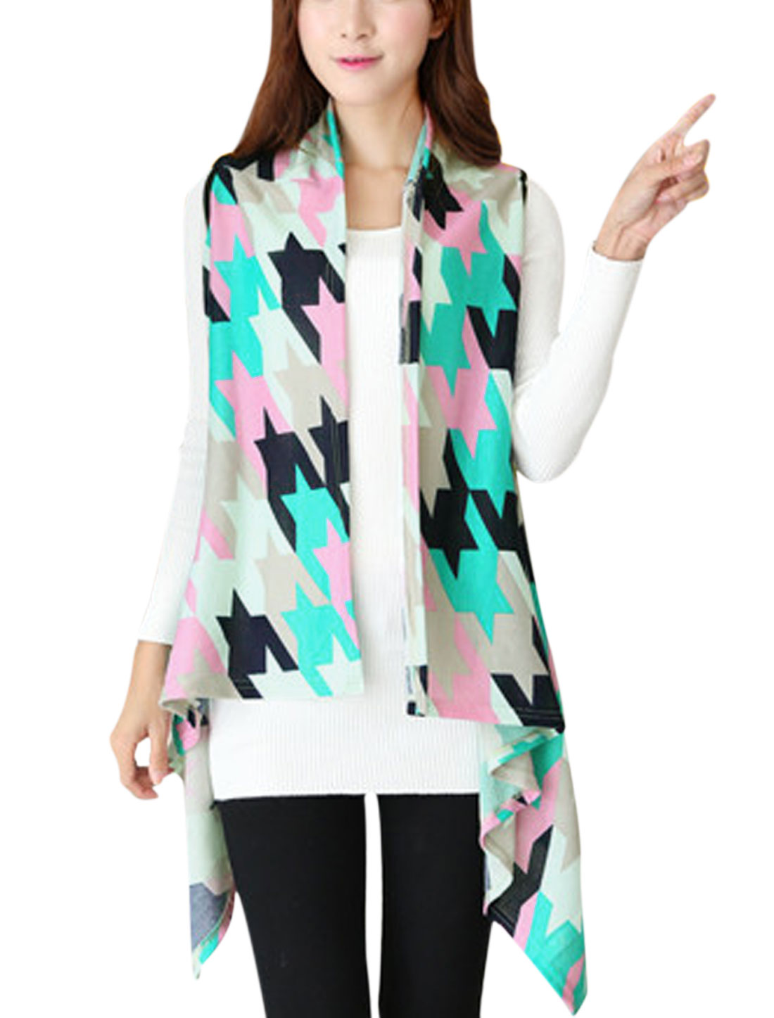 Women Houndstooth Pattern Irregular Hem Knitted Vest Multicolor XS
