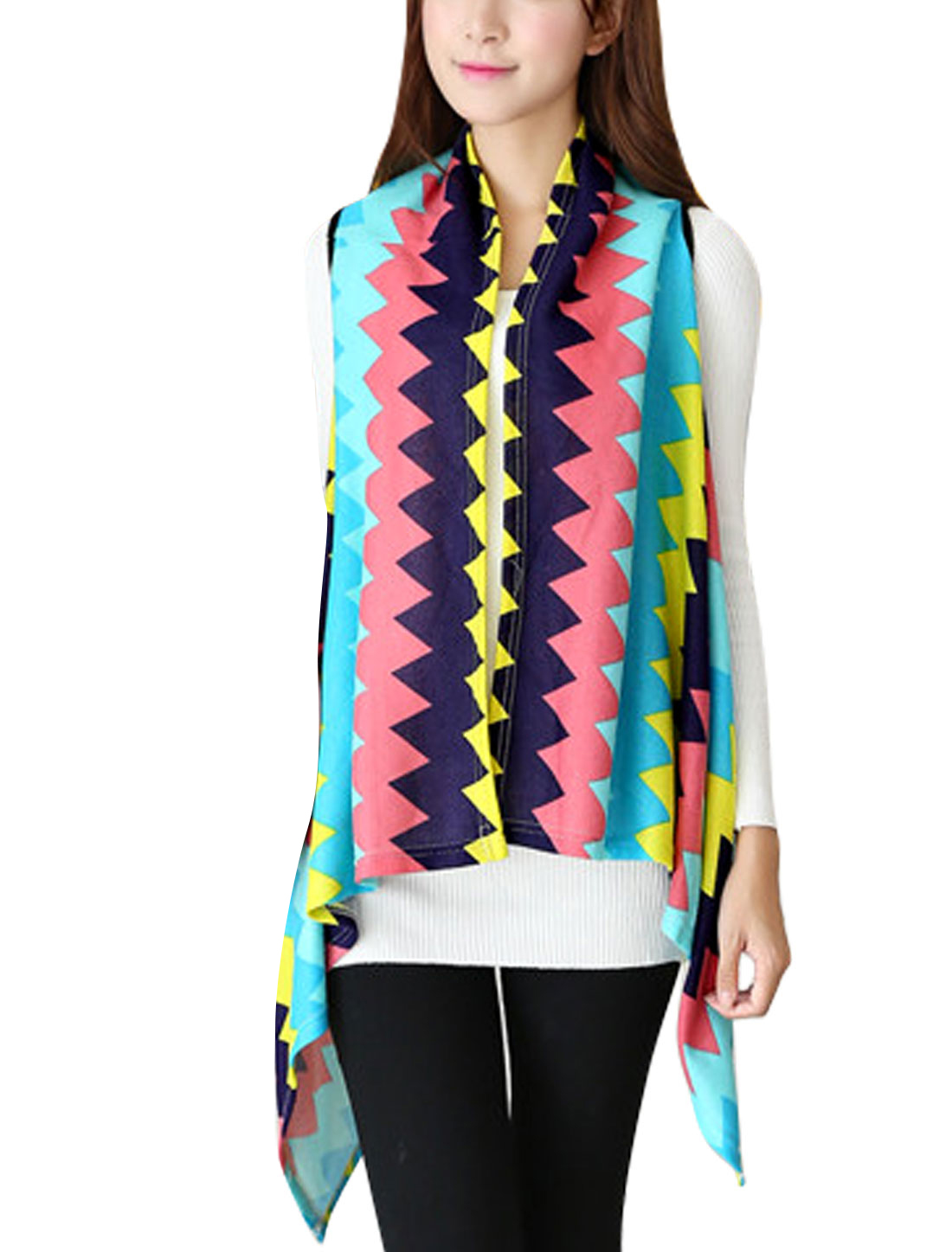 Women Irregular Hem Zig-zag Pattern Casual Knitted Vest Multicolor XS