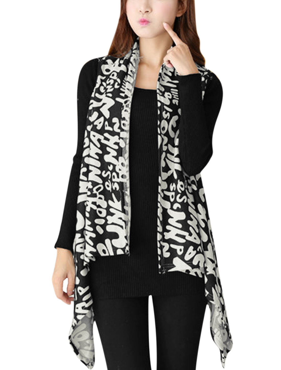 Ladies Letters Pattern Asymmetric Hem Design Knit Vest Black White XS
