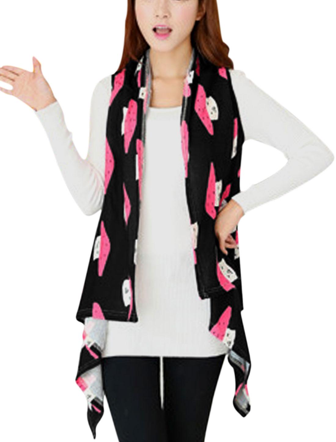 Women Mushroom Pattern Asymmetric Hem Knitting Vest Black XS