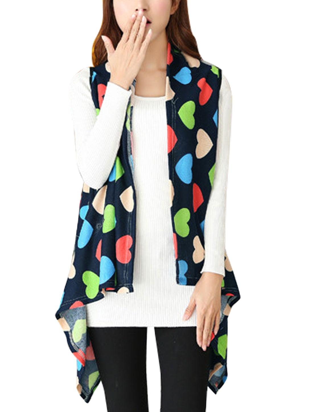 Hearts Pattern Asymmetric Hem Knitting Vest for Lady Navy Blue XS
