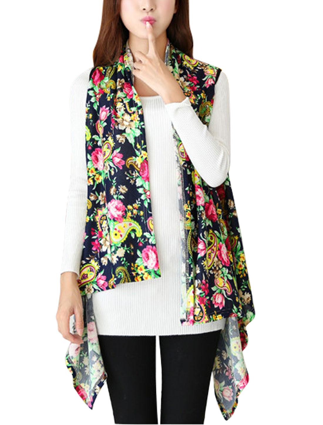 Ladies Multicolor Asymmetric Hem Floral Prints Front Opening Leisure Knit Vest XS