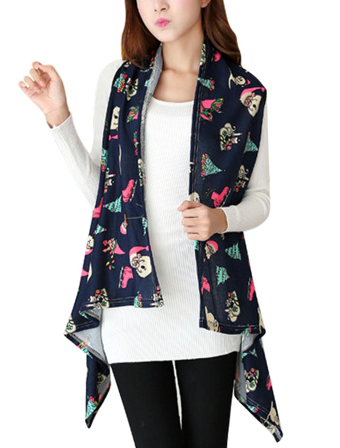 Women Father Christmas Pattern Asymmetric Hem Knit Vest Navy Blue XS