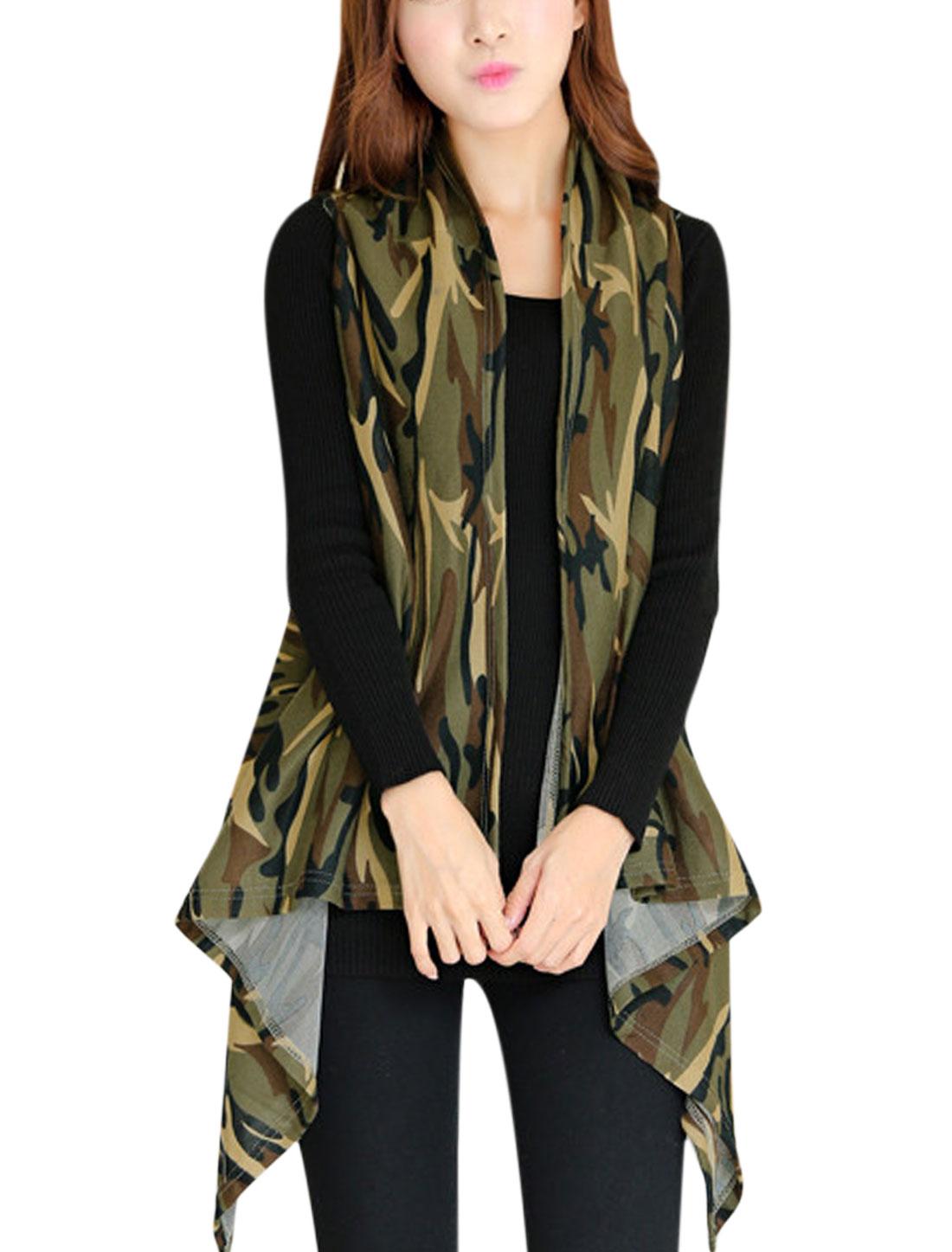 Women Camo Pattern Front Opening Irregular Hem Knit Vest Army Green XS