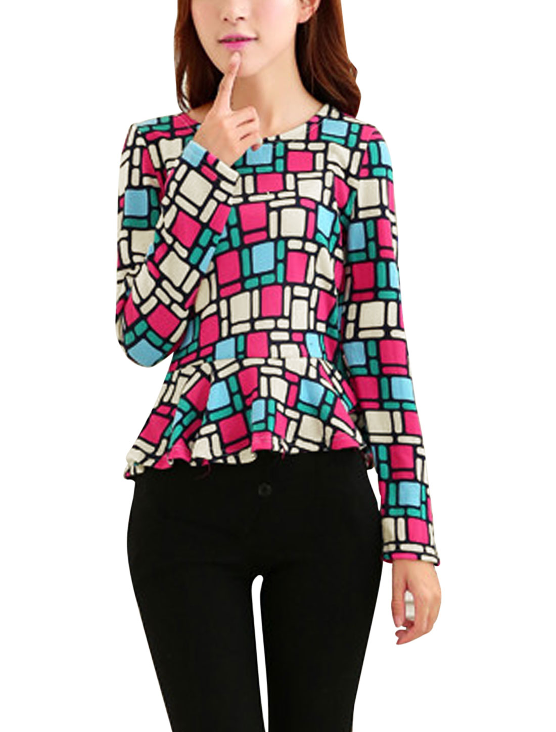 Lady Geometric Pattern Long Sleeves Light Peplum Knit Top Multicolor XS