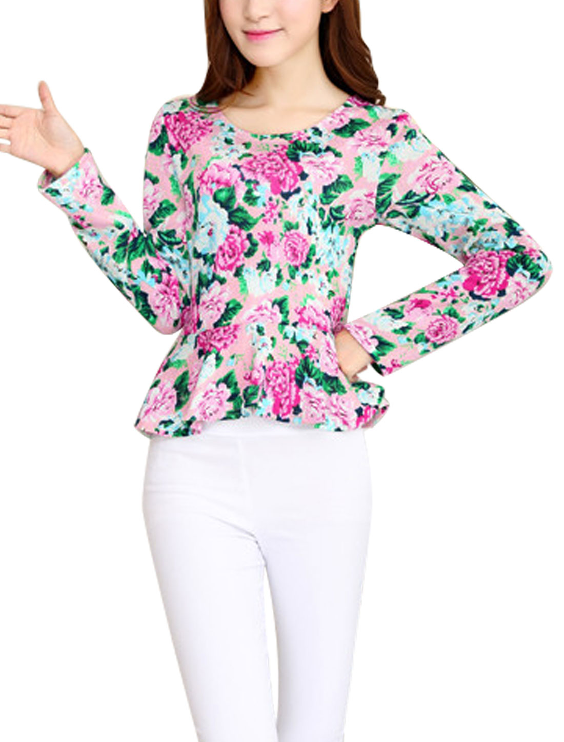 Women Round Neck Long Sleeve Floral Prints Knit Peplum Top Multi Color XS