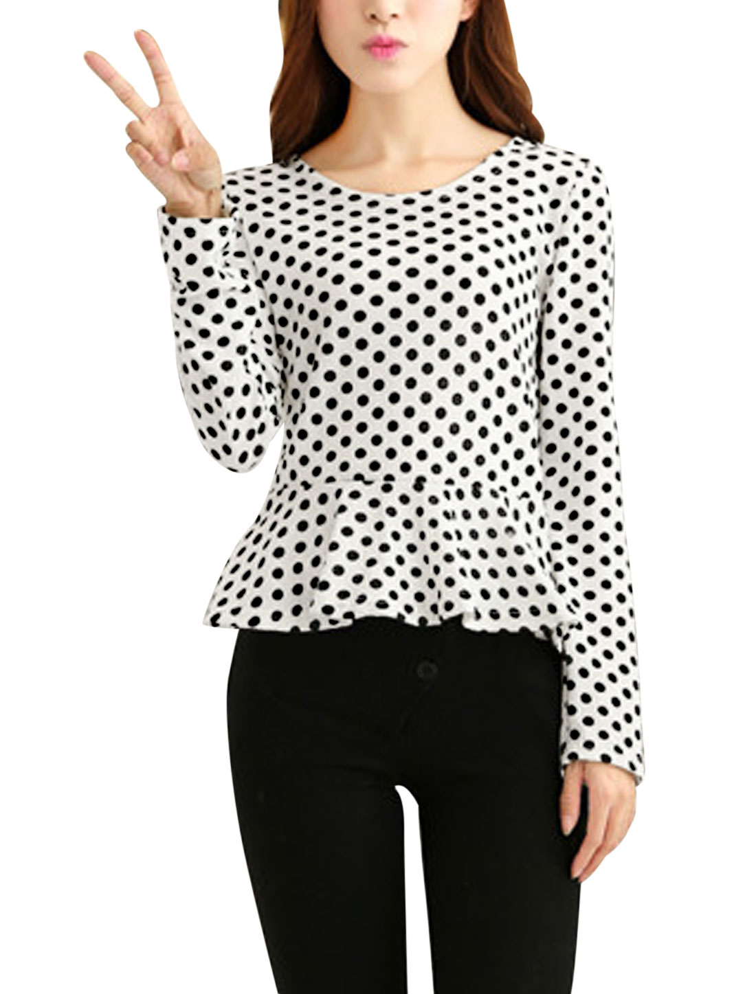 Women Beige Round Neck Dots Long Sleeves Knitting Peplum Top XS