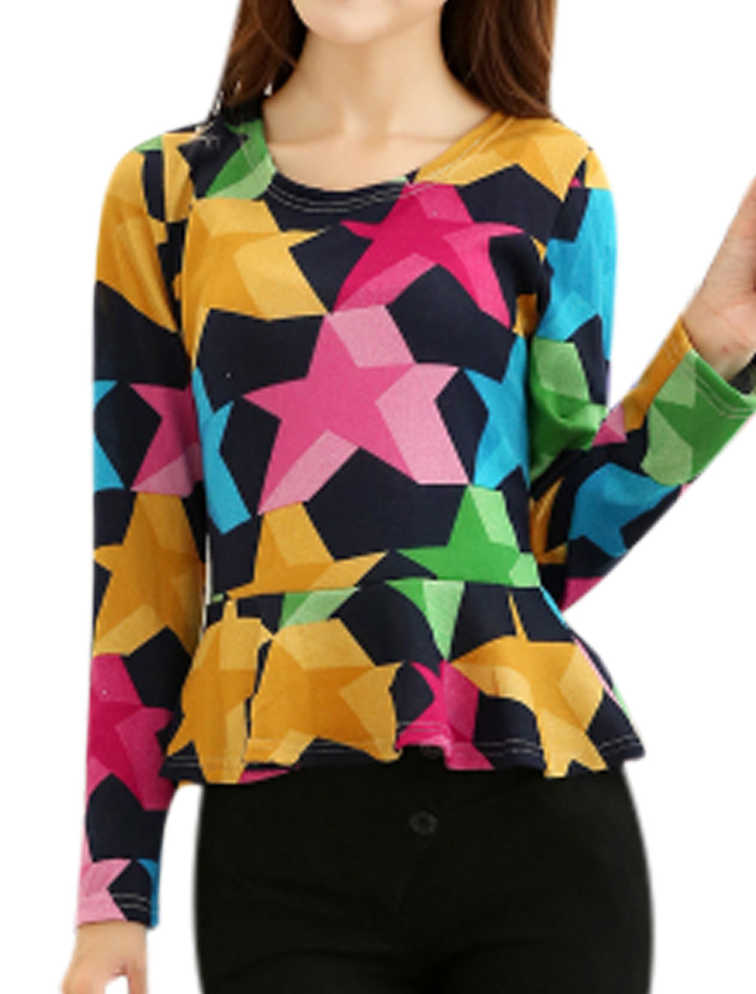 Women Multicolor Round Neck Stars Pattern Long Sleeves Knitting Peplum Top XS