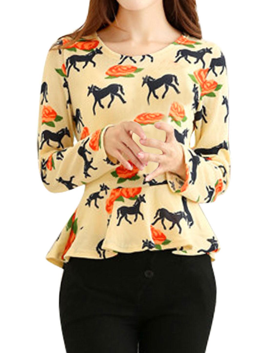 Women Round Neck Long Sleeve Horse Pattern Leisure Knit Top Beige XS