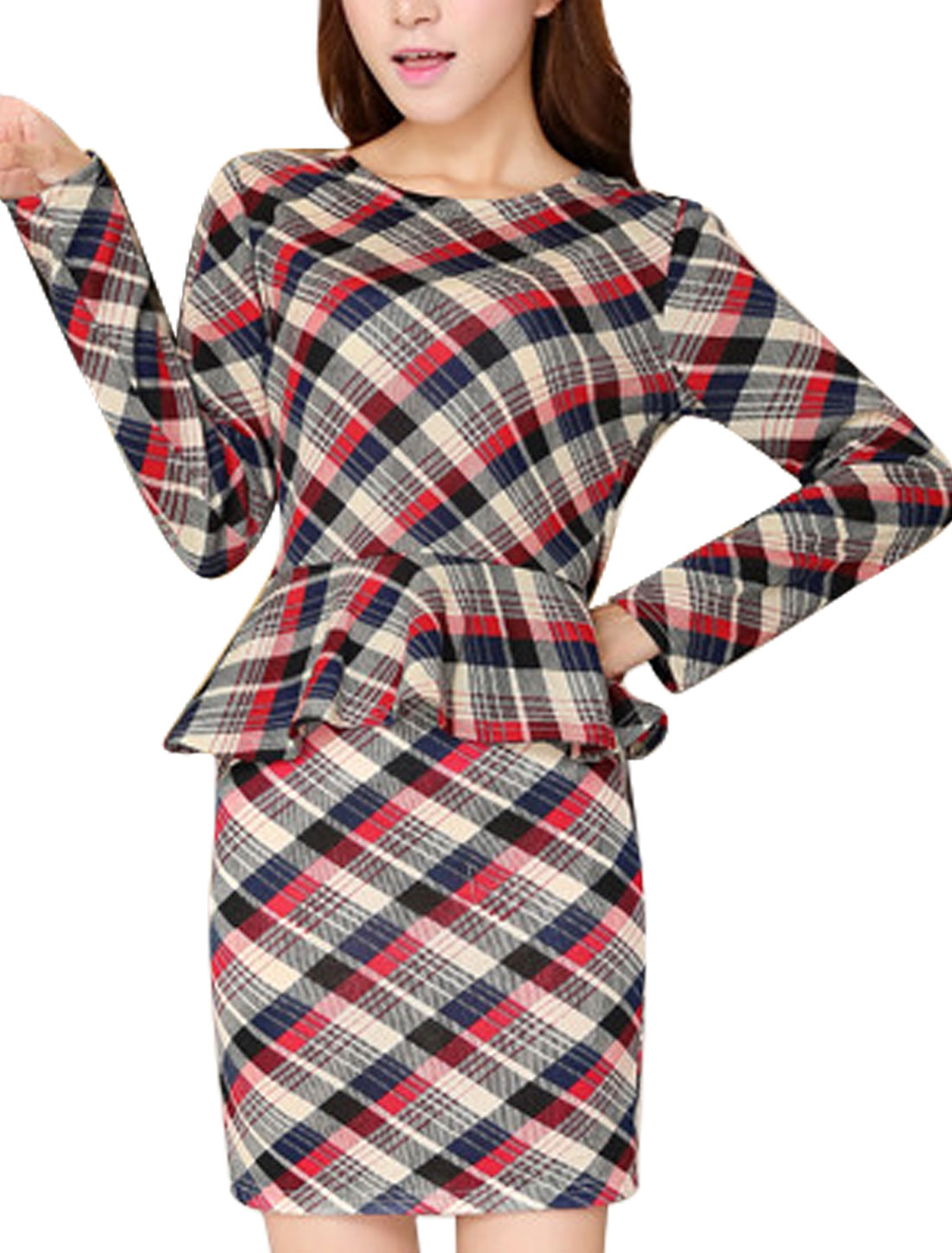 Ladies Plaids Pattern Long Sleeve Chic Light Peplum Knit Top Navy Blue Beige XS