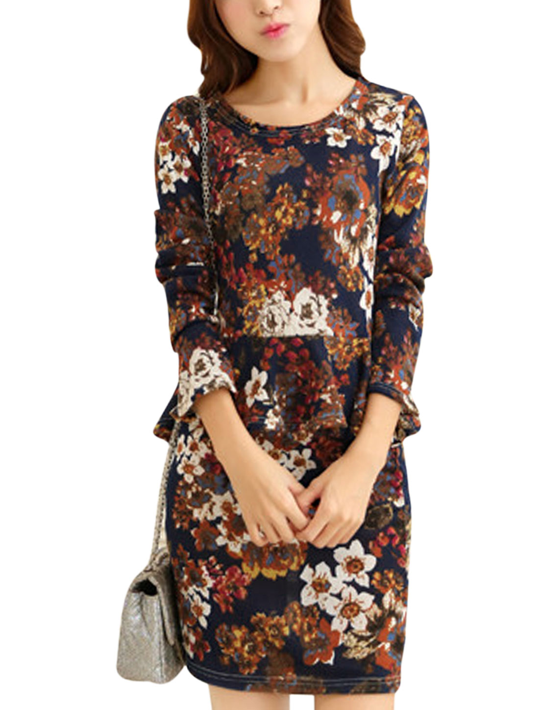 Women Floral Prints Round Neck Long Sleeve Knitted Peplum Top Navy Blue XS