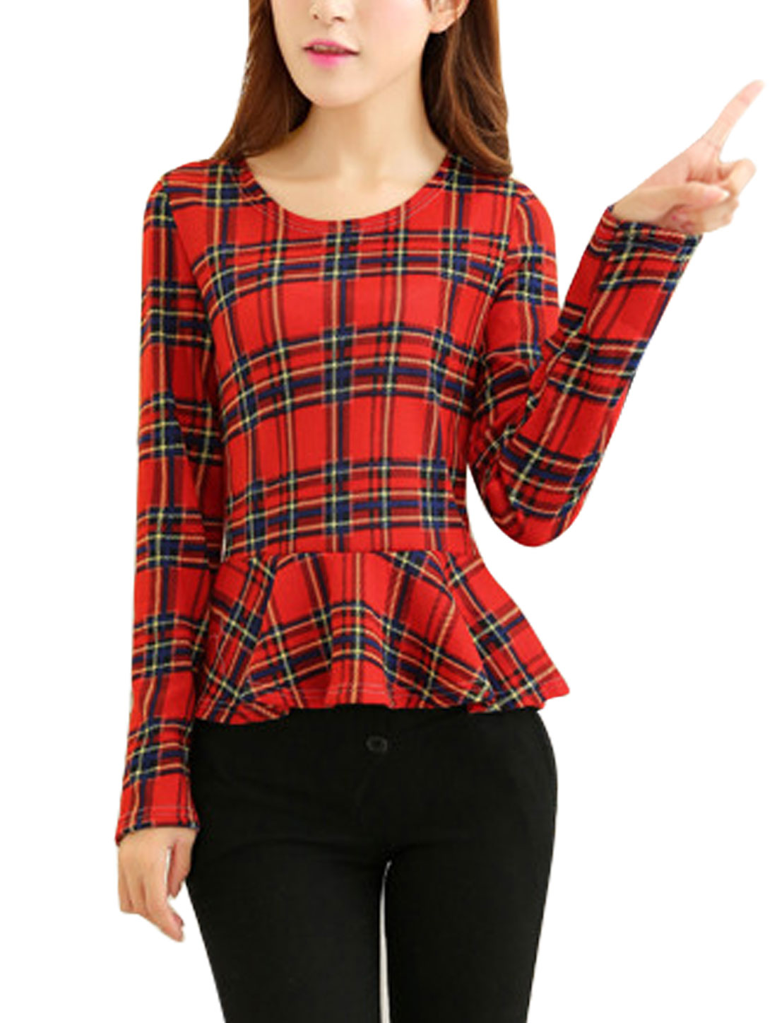 Women Plaids Pattern Round Neck Long Sleeve Knit Peplum Top Red XS