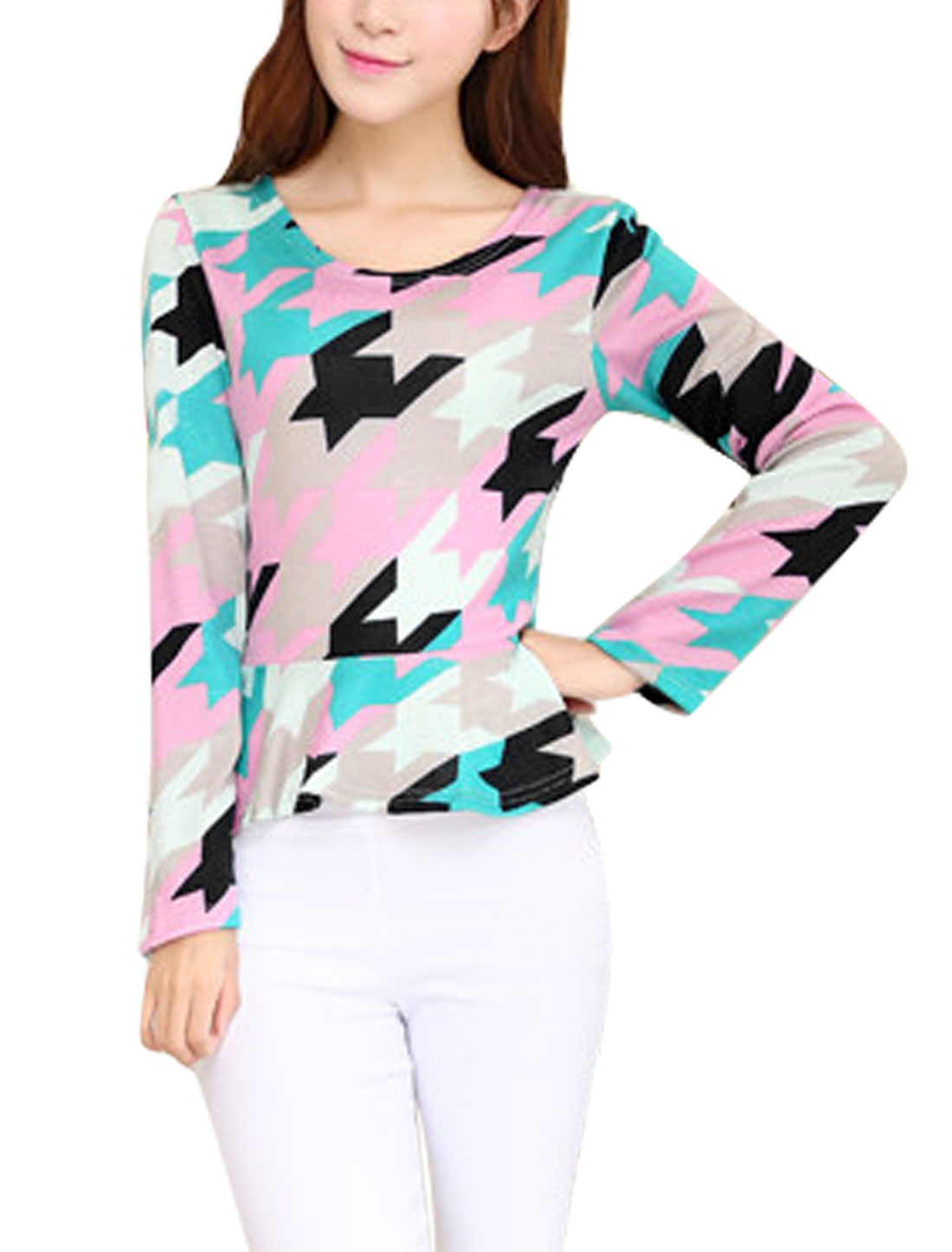 Women Houndstooth Pattern Long Sleeve Light Peplum Knit Top Multicolor XS