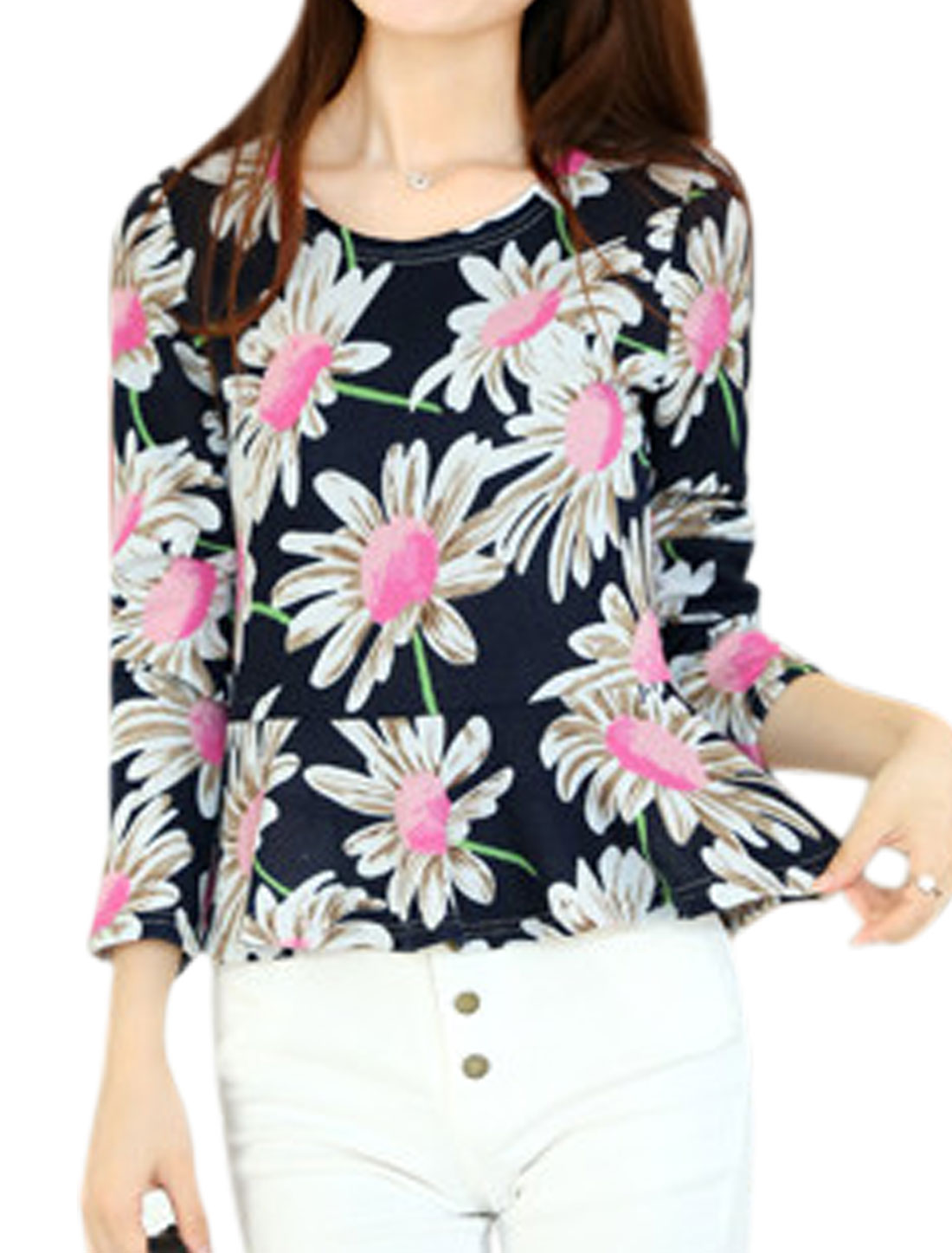 Women Flower Pattern Long Sleeves Knit Peplum Top Navy Blue XS